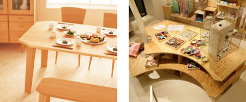 五十嵐久枝さん baguetteテーブルとベンチ/LuncH店内ワークテーブル